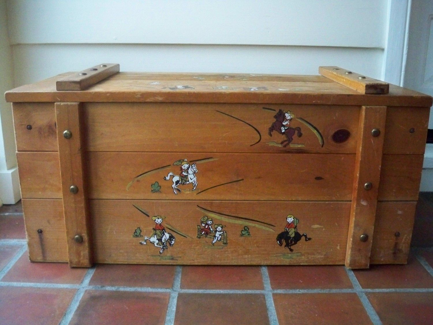 Vintage Cowboy Wood Toy Box Circa 1960s Wood Toy Box Wooden Toy Boxes Toy Boxes