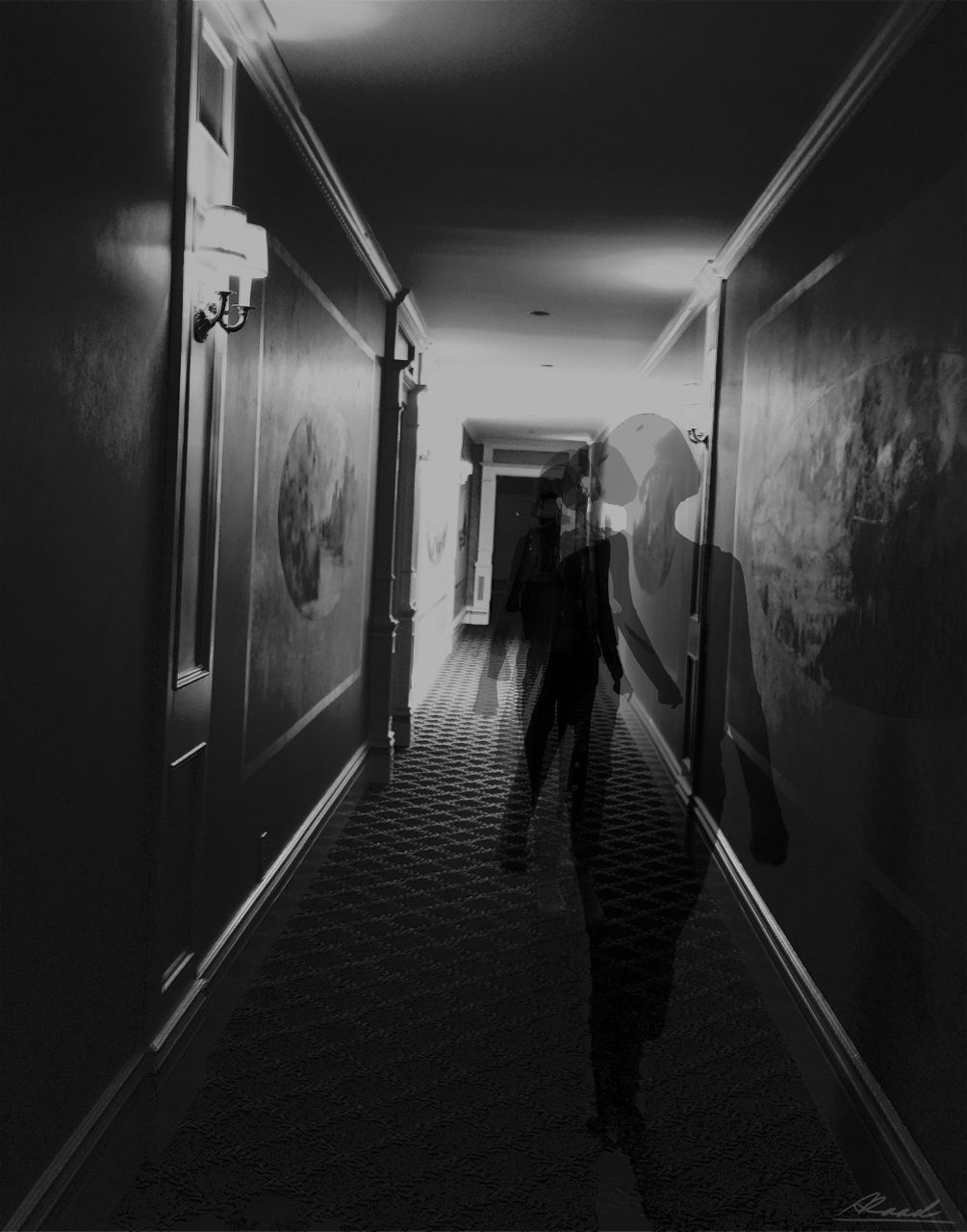 Aziz Raad, Figure in the Hallway, 2017. Photograph
