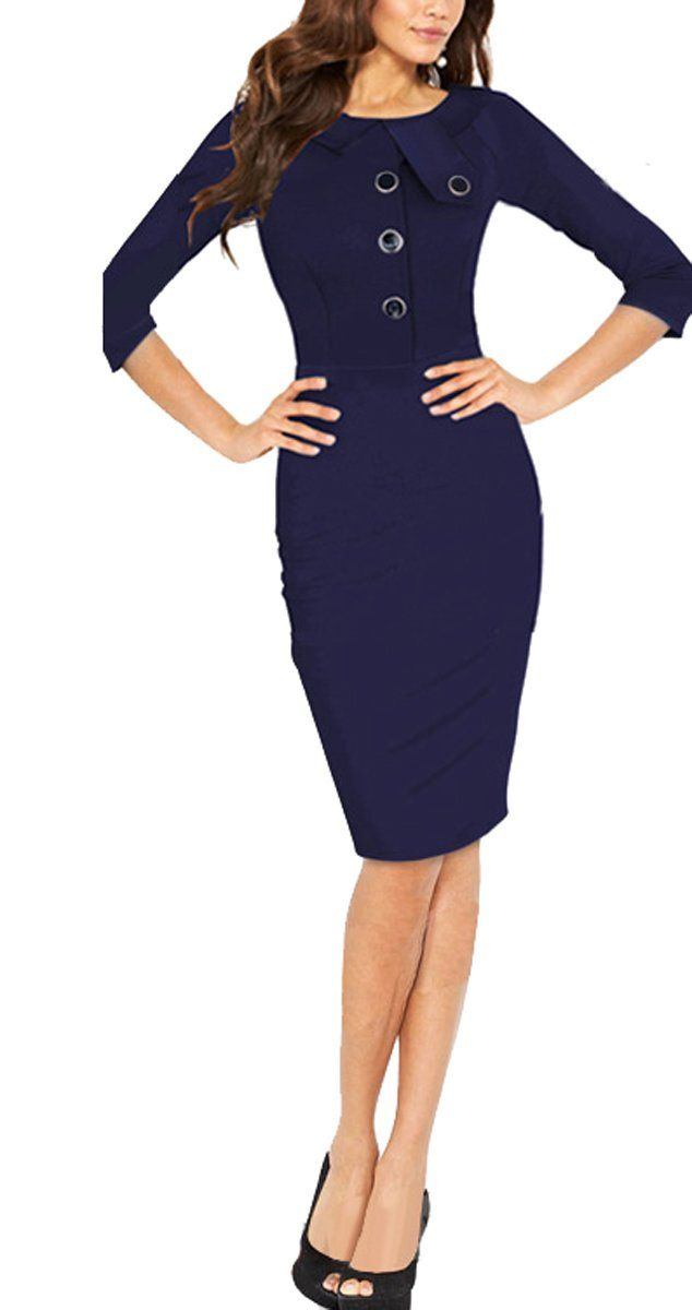 75086c21bc BAIMIL Women Long Sleeve Elegant Bodycon Business Work Casual Cocktail  Dress Deep Blue L   Continue to the product at the image link.