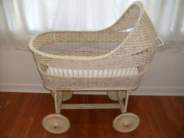 Cottage Room 9 Vintage White Wicker Baby Bassinet On Wood Wheels