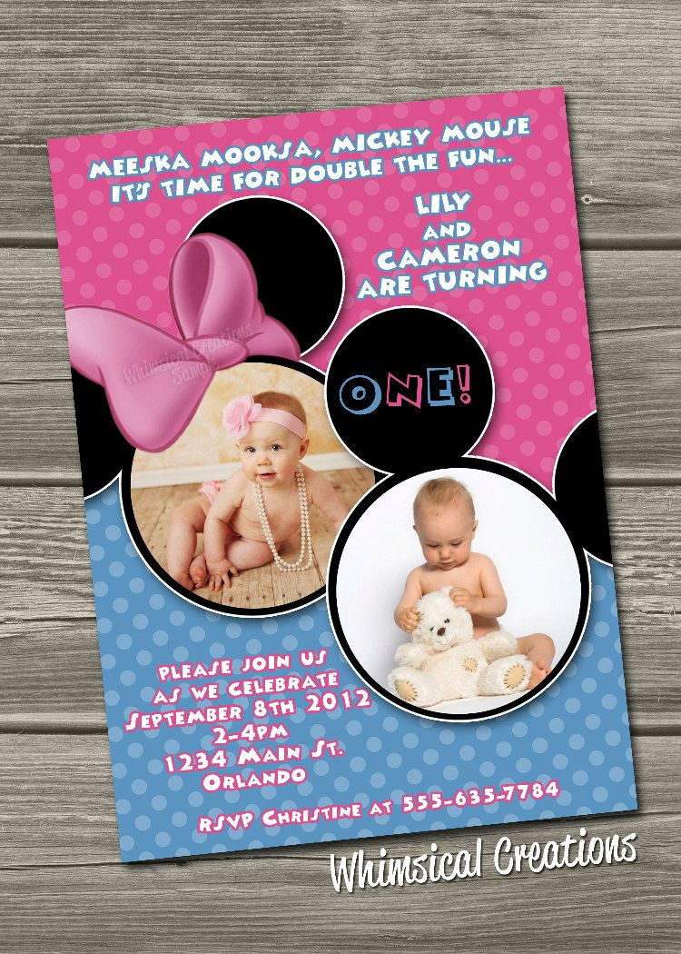 twin birthday photo Twins 1st Birthday Invitations Boy Girl