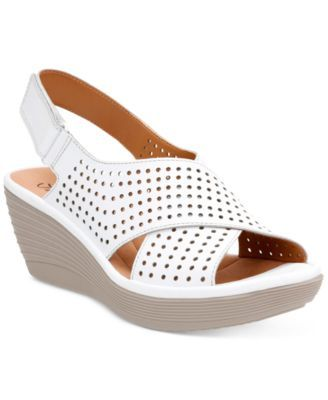 Clarks Collection Women's Reedly Variel Wedge Sandals | macys.com