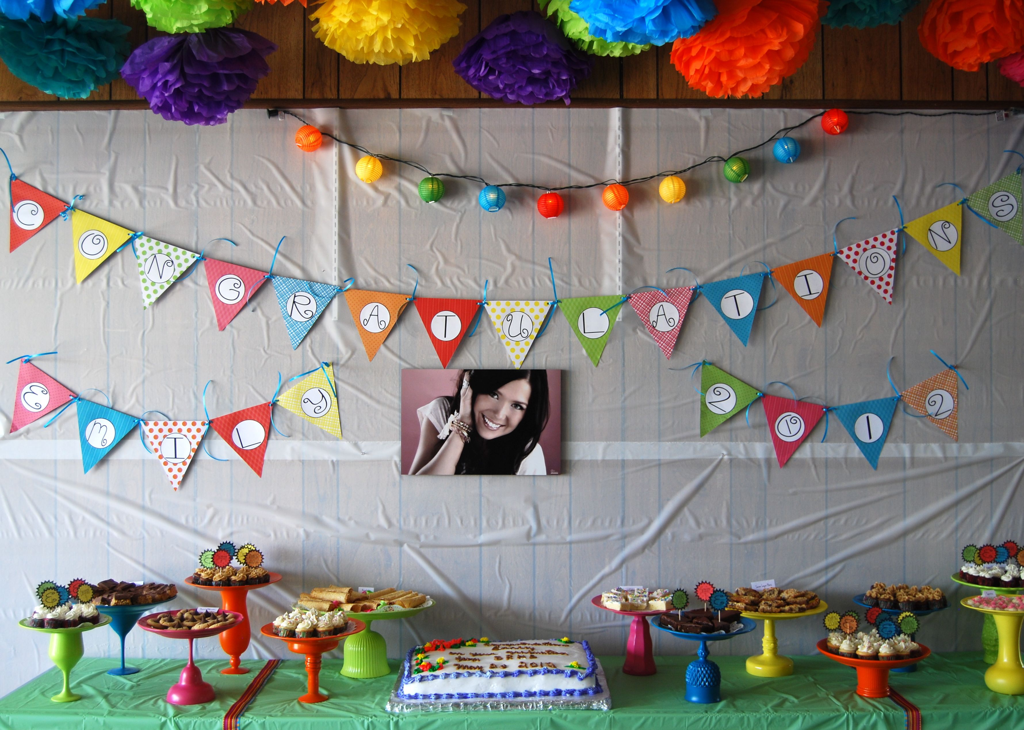 Cute cute cute graduation party pinterest yahoo search decor graduation decoration ideas in the event indoors with pom poms and art decoration on a ribbon in the strand right on the walls and ceiling of the room amipublicfo Image collections