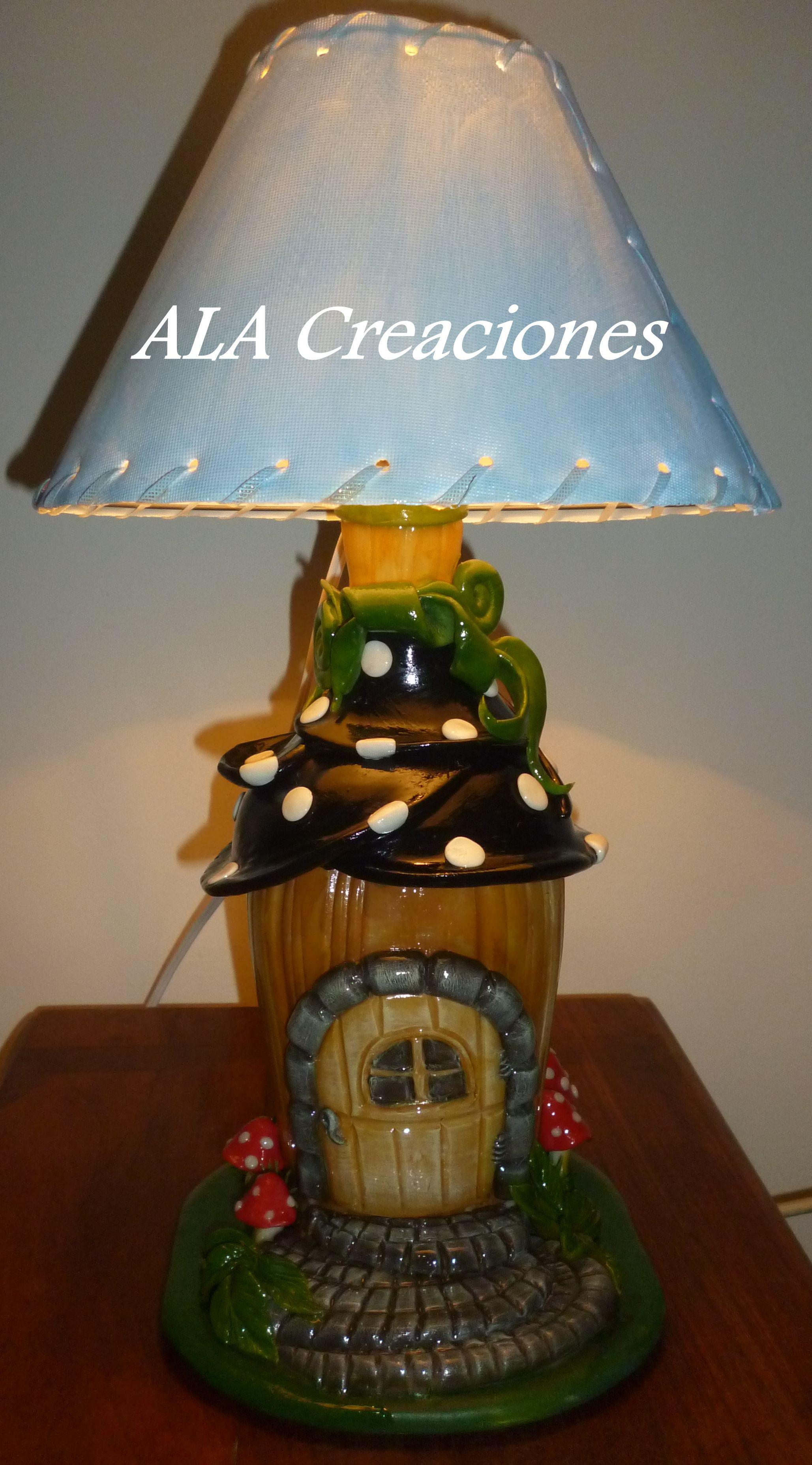 Lampara botella decorada con porcelana fr a - Manualidades con lamparas ...