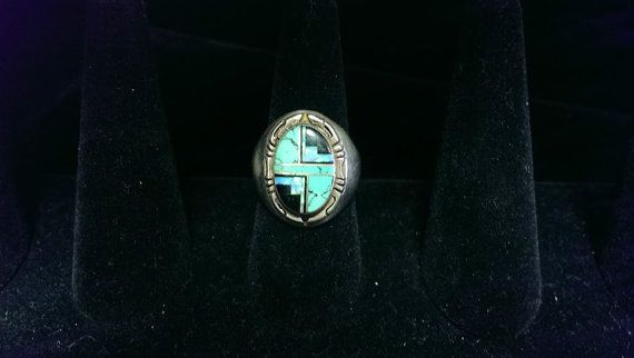 Vintage Sterling Navajo Men's Ring with by MissRosesVintage, $85.00