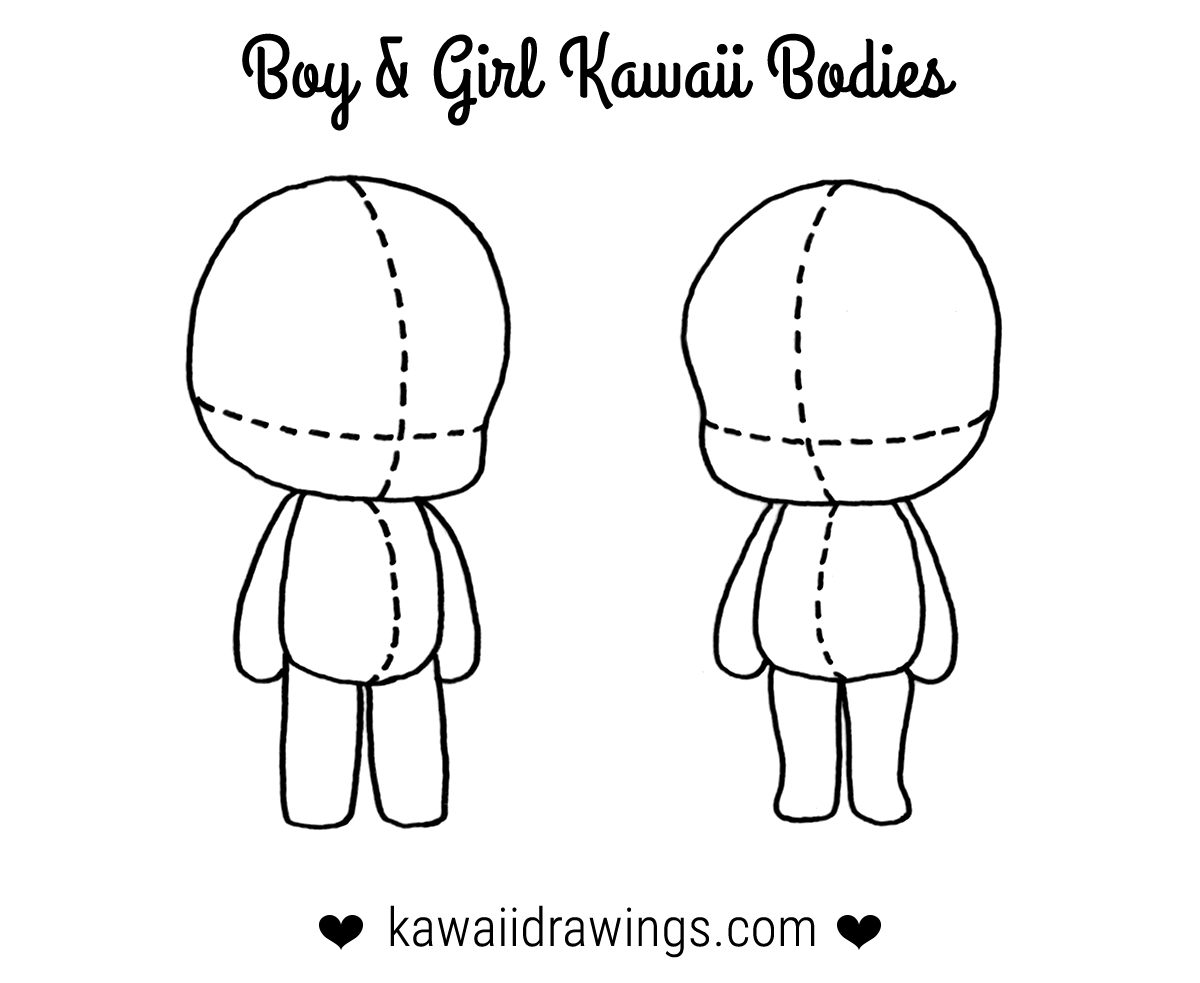How To Draw Kawaii Body For A Boy And Girl Kawaii Drawing Tutorial Kawaii Drawings Drawing Tutorial Chibi Drawings