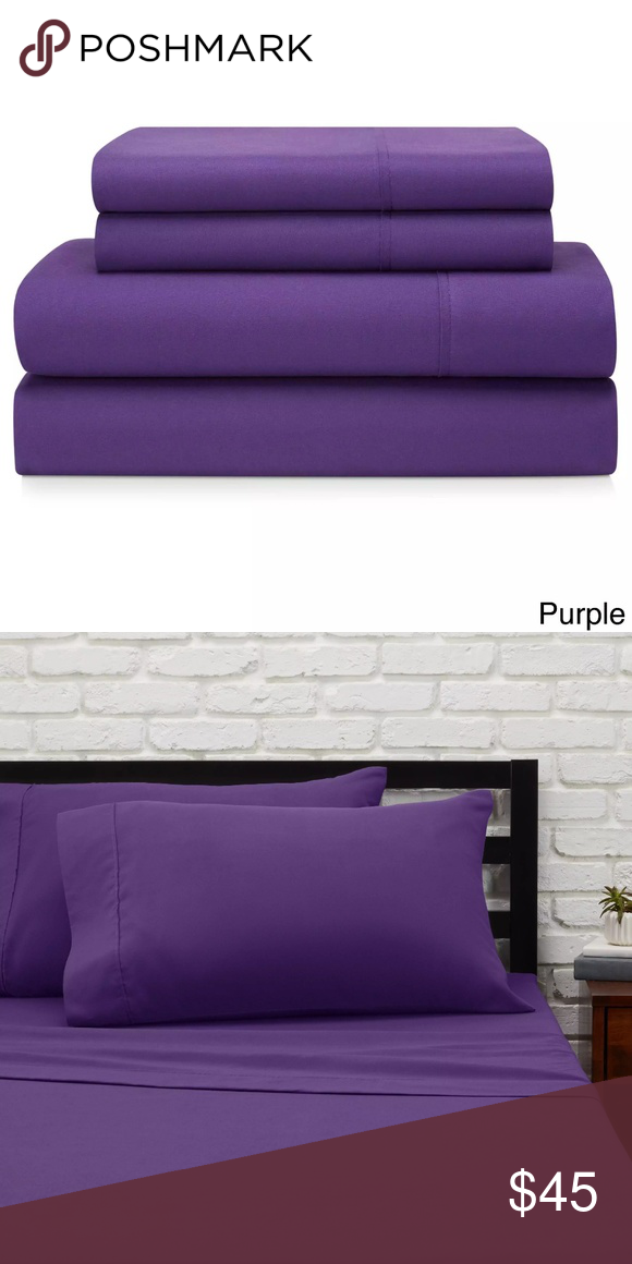 Luxurious Royal Purple Twin Sheet Set Brand New In Unopened Package Comes With Sheet Fitted Sheet 2 Pillow Cases Jill Twin Sheet Sets Twin Sheets Sheet Sets