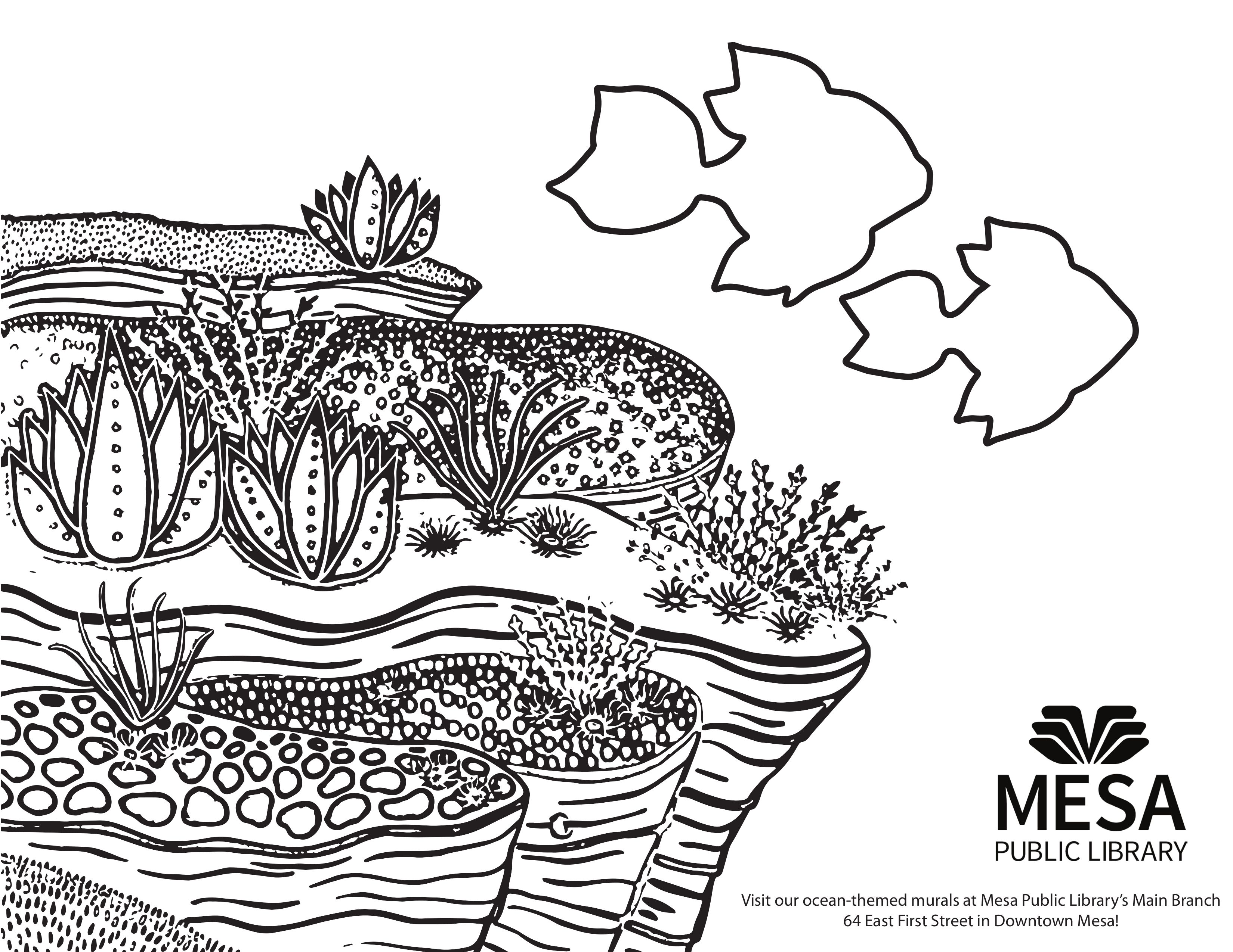 Ocean Floor Printable Coloring Sheet Based On The Murals In The Children S Room Of The Main Branch Mesa Public Library Printable Coloring Sheets Childrens Room