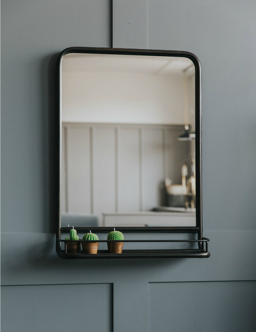 Large Industrial Mirror With Shelf In 2019