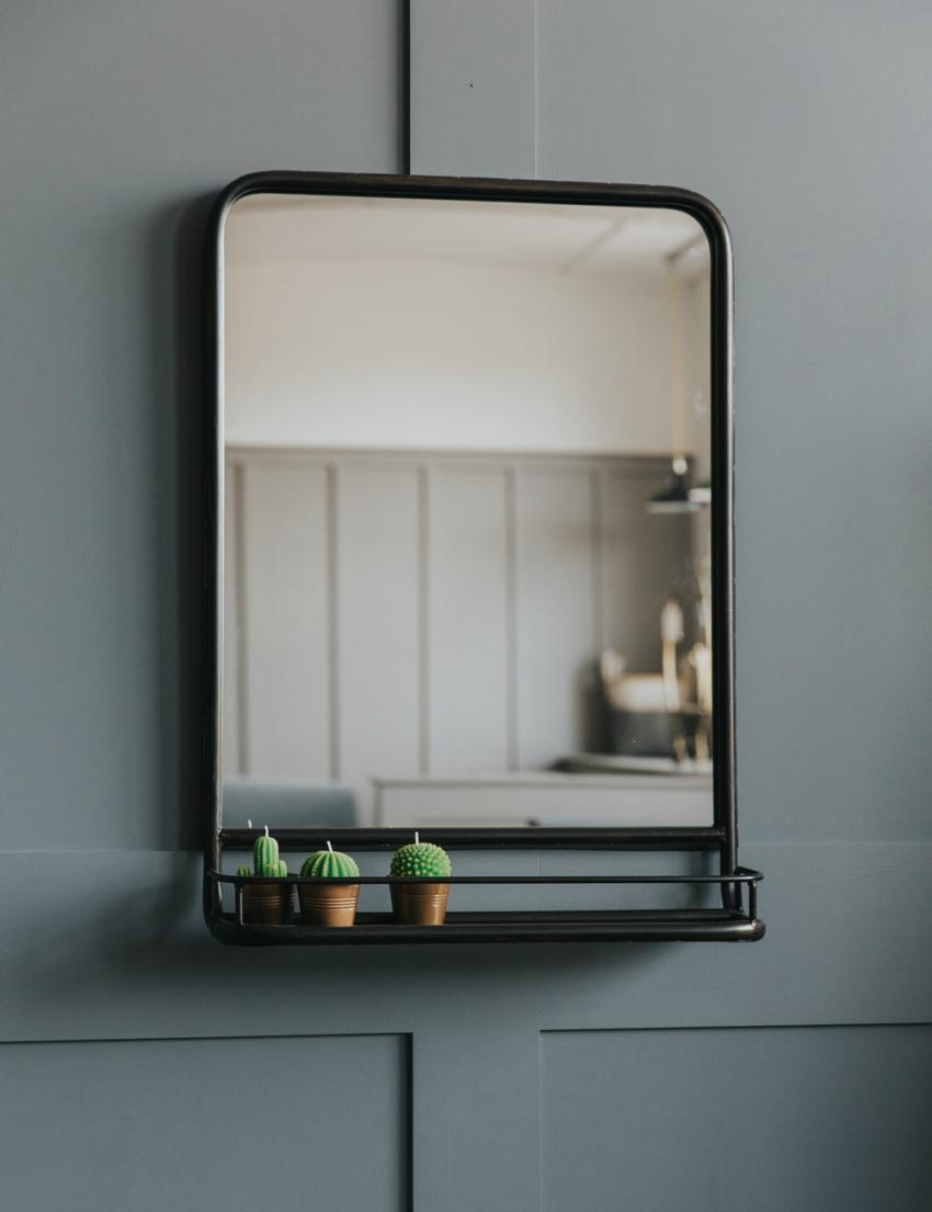 Large Industrial Mirror With Shelf Espejo De Bano Con Estante