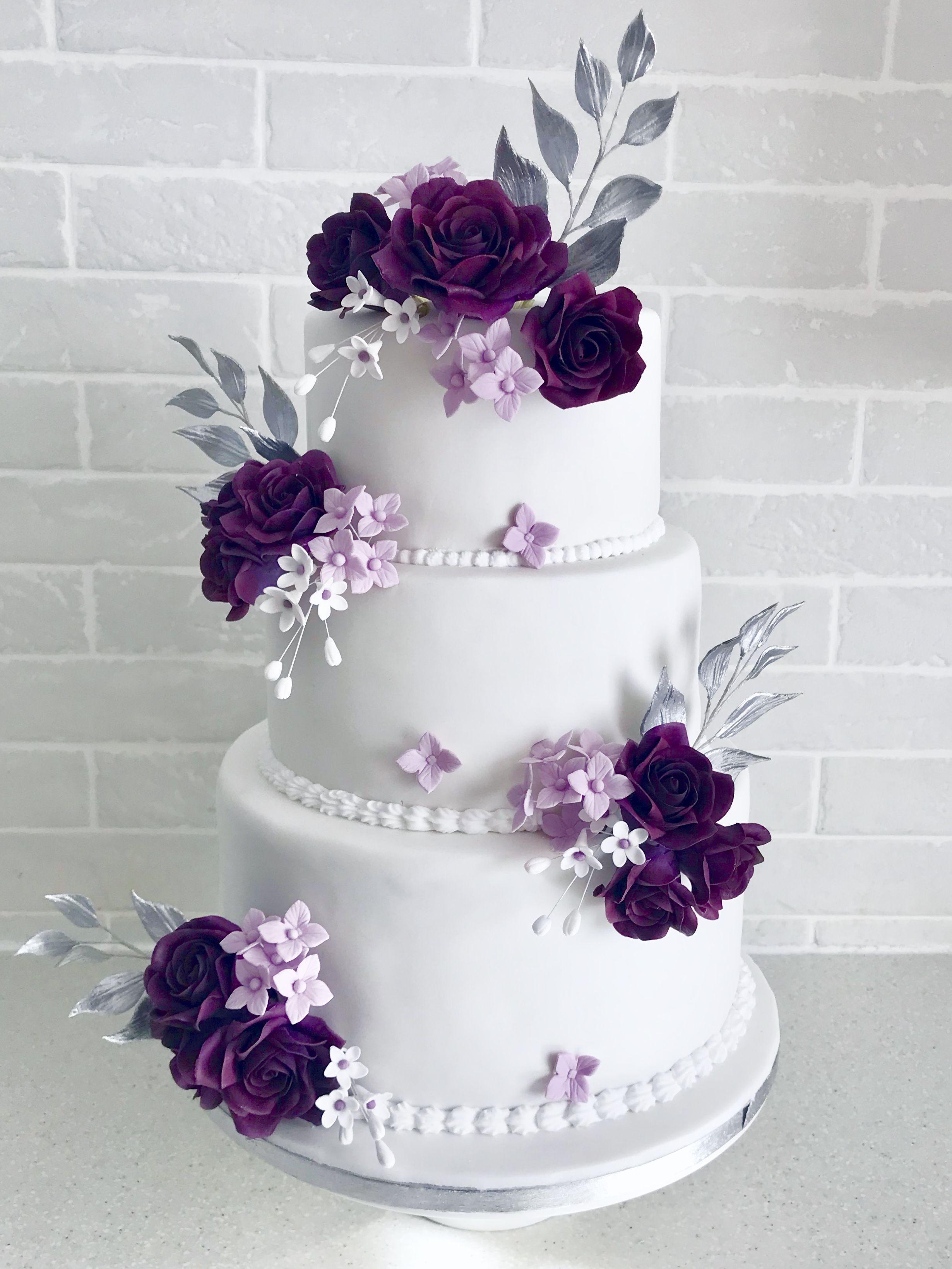 Plum Truffle Rose Wedding Cake
