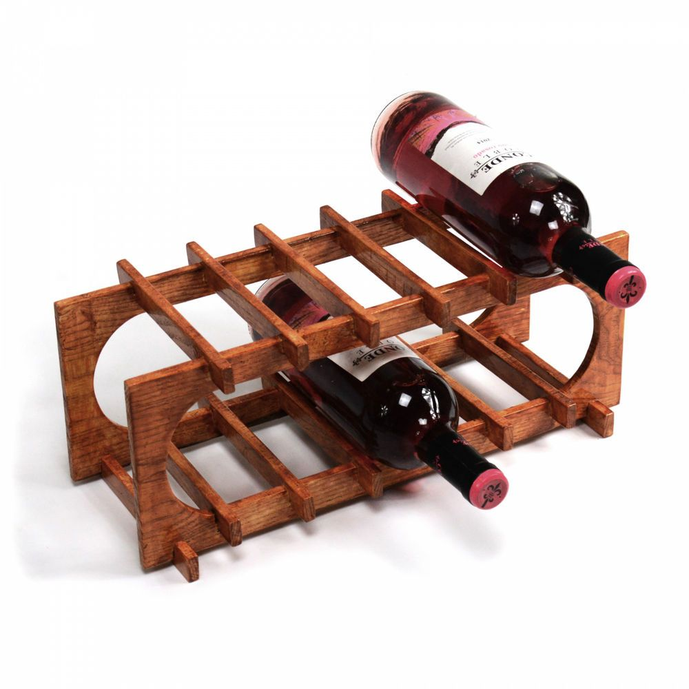 6 Bottle Wine Rack Wooden Stand Countertop Storage Holder Display