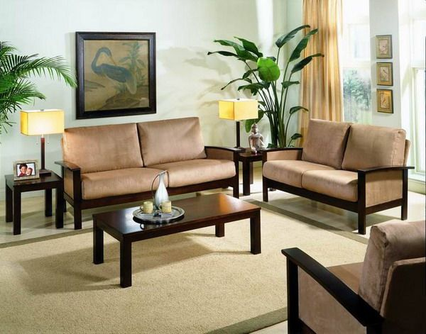 Delightful Wooden Sofa Sets For Small Living Room Decorating Ideas