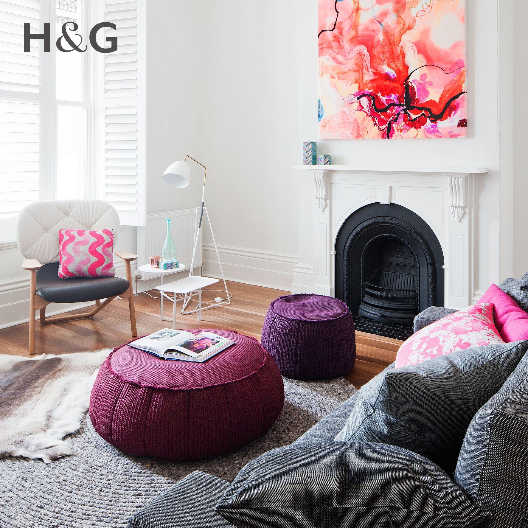 Pink, orange, maroon and purple create an energetic vibe in this ...