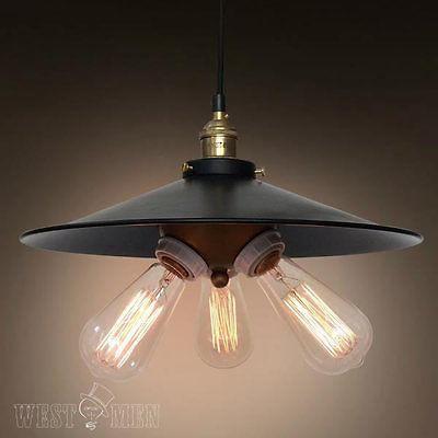 3 lights black hat lampcover pendant light vintage industrial