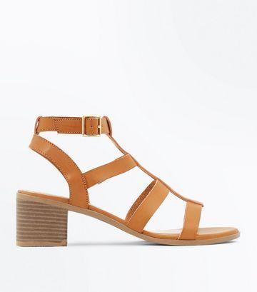 100df4202 Camel Stud Trim Block Heel Gladiator Sandals