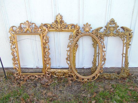 Large Gold Ornate Frame Set Syroco Mirror Frames Gallery Wall Art
