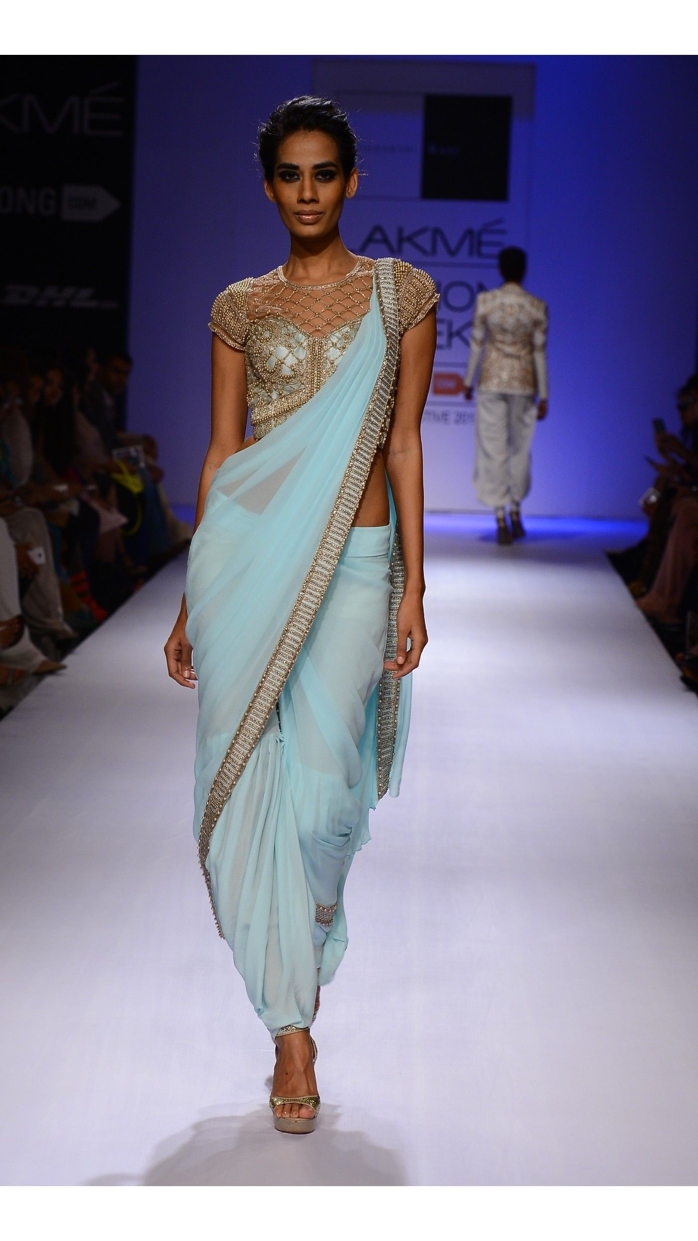 SONAAKSHI RAAJ Blue Embroidered Pant Sari-Gown.Love this concept ...