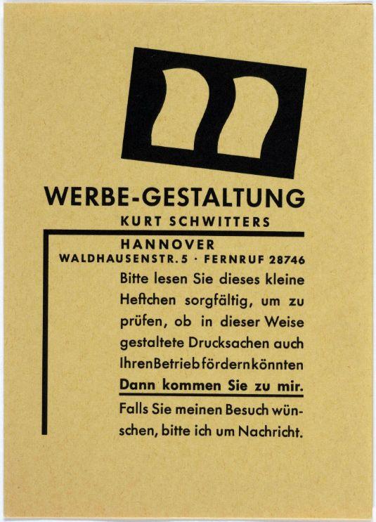 Kurt Schwitters, Die neue Gestaltung in der Typographie, Werbe-Gestaltung, 1930