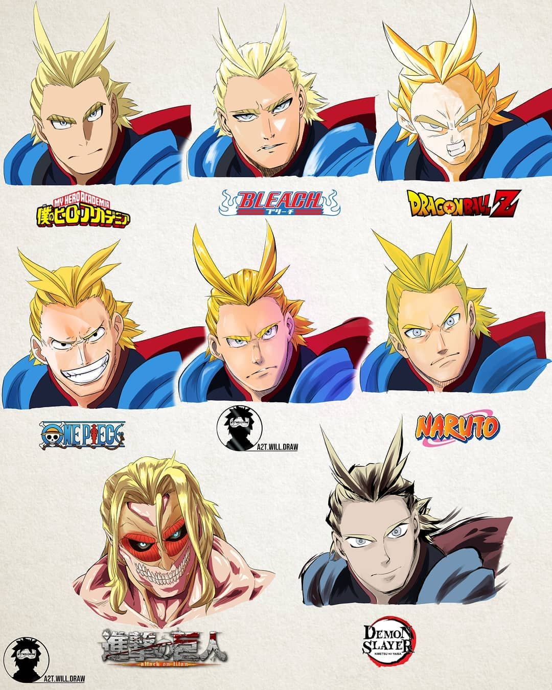 All Might In Different Manga Styles By A2t Will Draw Anime Toon Anime Crossover Anime Characters
