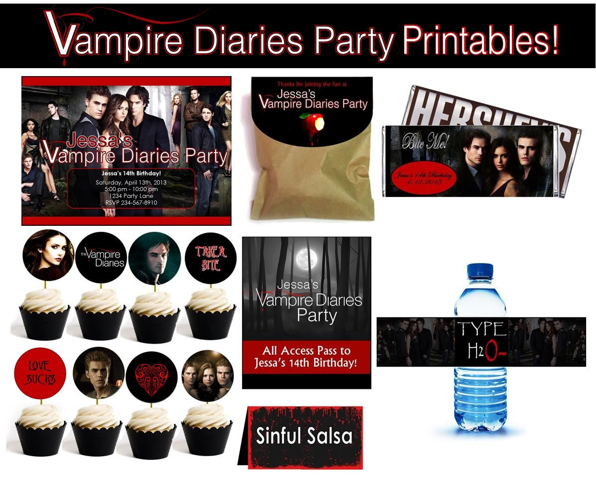 Personalized vampire diaries party supplies vampire