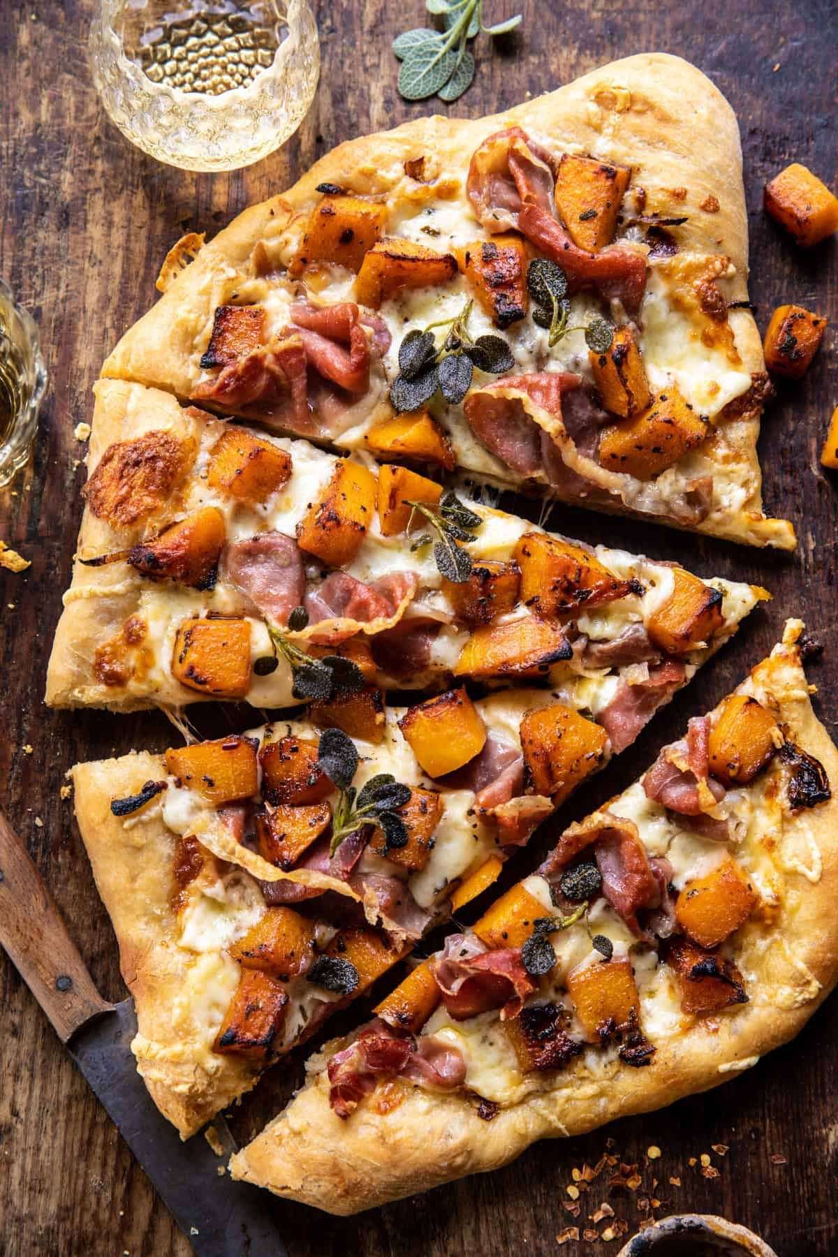 Roasted Butternut Squash Prosciutto Pizza with Caramelized Onions. – Half Baked Harvest