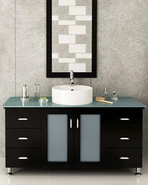 47 Grand Lune Green Glass Top Vanity Espresso Vessel Sink Vanity Modern Bathroom Discount Bathroom Vanities
