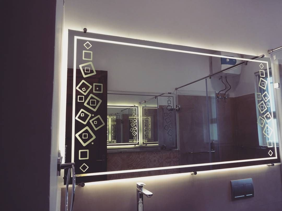 Adding Light To Your Life The Bathroom Mirrors Are Backed With Etched Glass And Led Lighti Bathroom Mirror Design Modern Bathroom Mirrors Led Mirror Bathroom