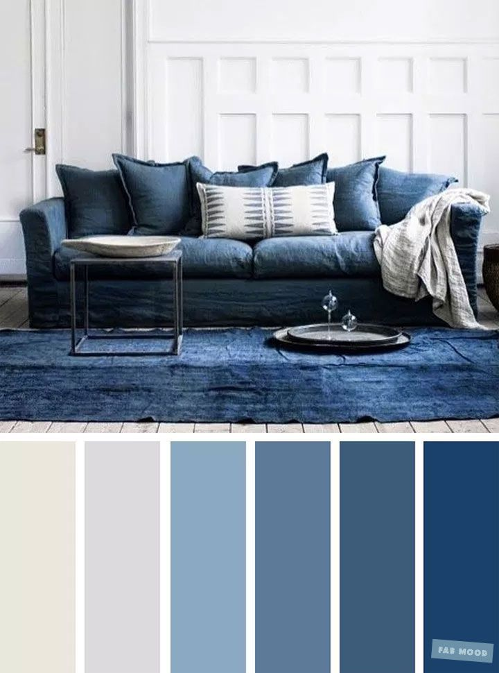 The Best Living Room Color Schemes - Blue & Light Grey Color Palette images