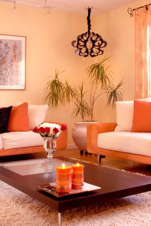 Dipped In Peach Monochromatic Rooms Living Room Orange Peach Living Rooms Monochromatic Room