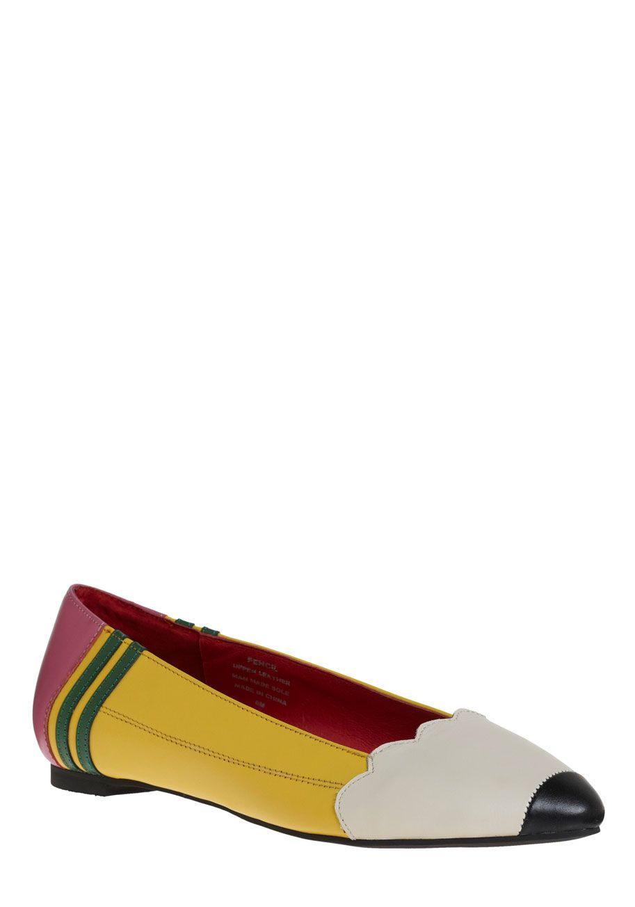 Pencil Me In Flat by Jeffrey Campbell - Yellow, Pink, White, Casual,  Statement, Scholastic/Collegiate, Leather, Flat, Best Seller, Quirky