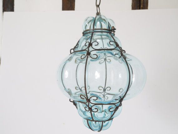 Vintage 1960s Crystal Blue Hand Blown Murano Glass Cage Pendant