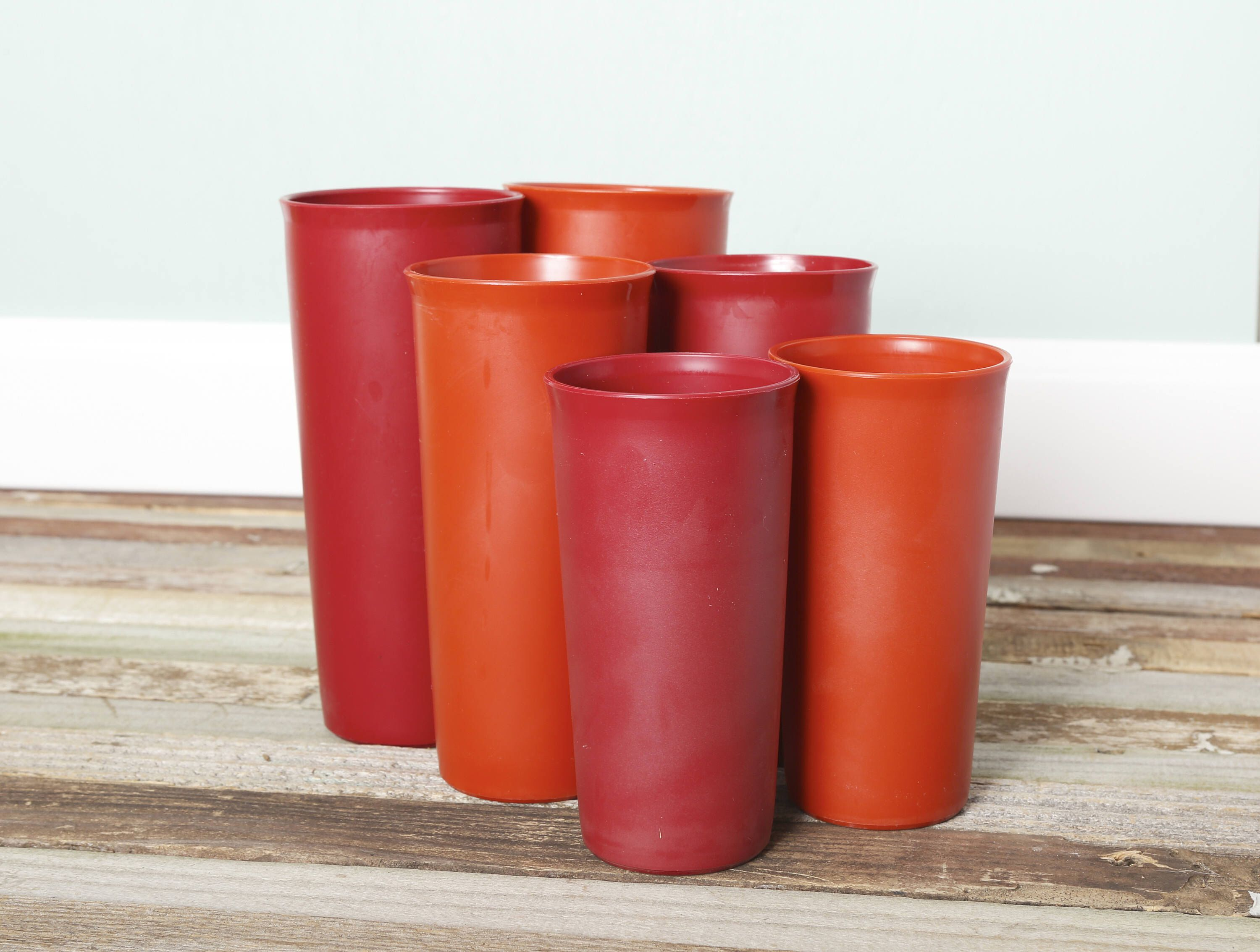Complete Set of 6 Vintage Tupperware Tumblers-Red and Orange Harvest ...