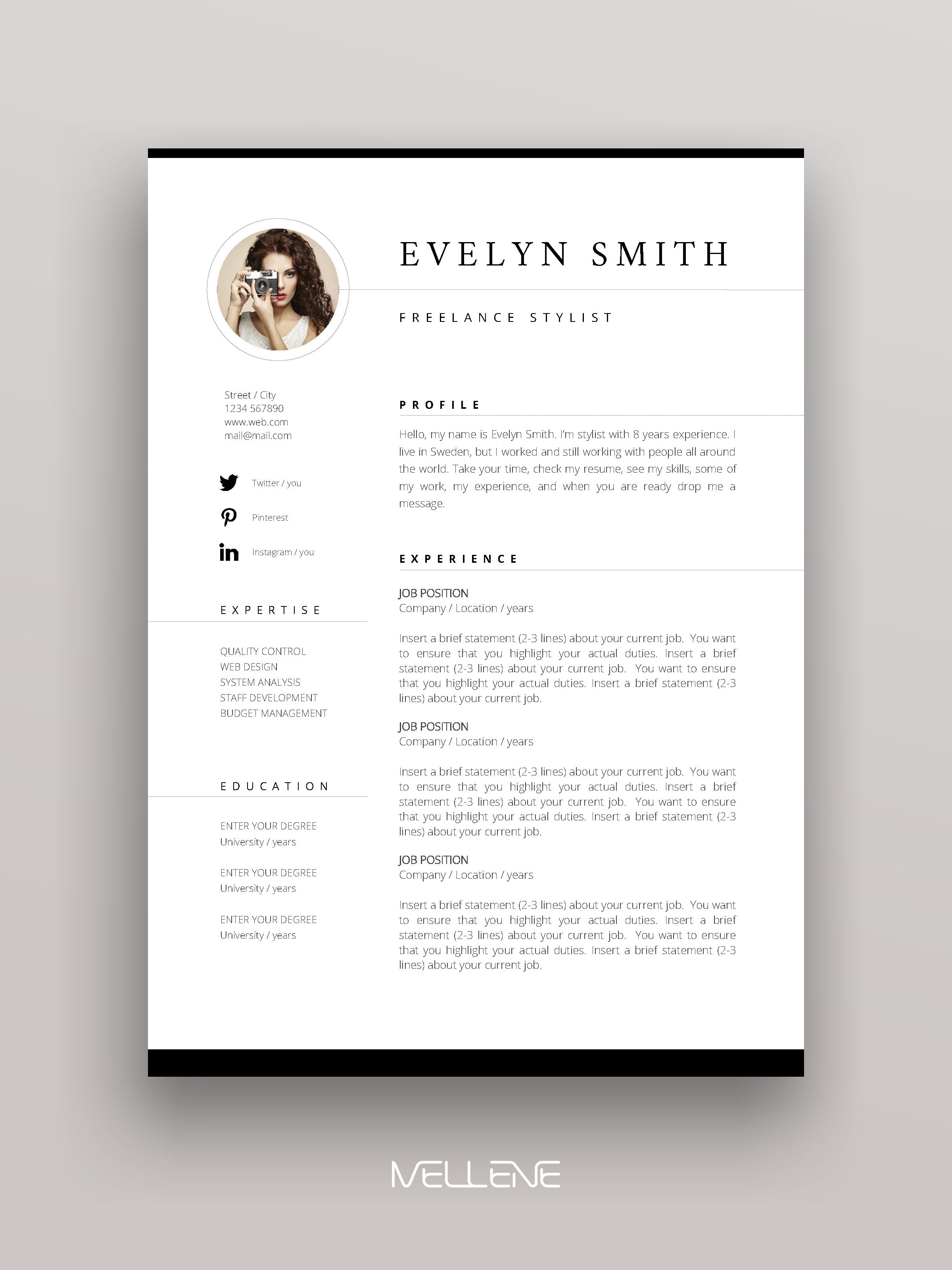Resume Template 3 Page Cv Template Cover Letter Instant Download For Ms Word Evelyn Presentation Layout Minimal Graphic Design Presentation Design