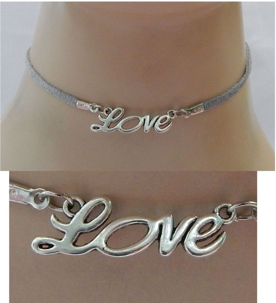Silver Love Choker Necklace Handmade Adjustable Gray Accessories NEW Fashion…