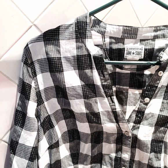 Converse XL plaid white & black button down shirt Great condition!! Converse Tops Button Down Shirts