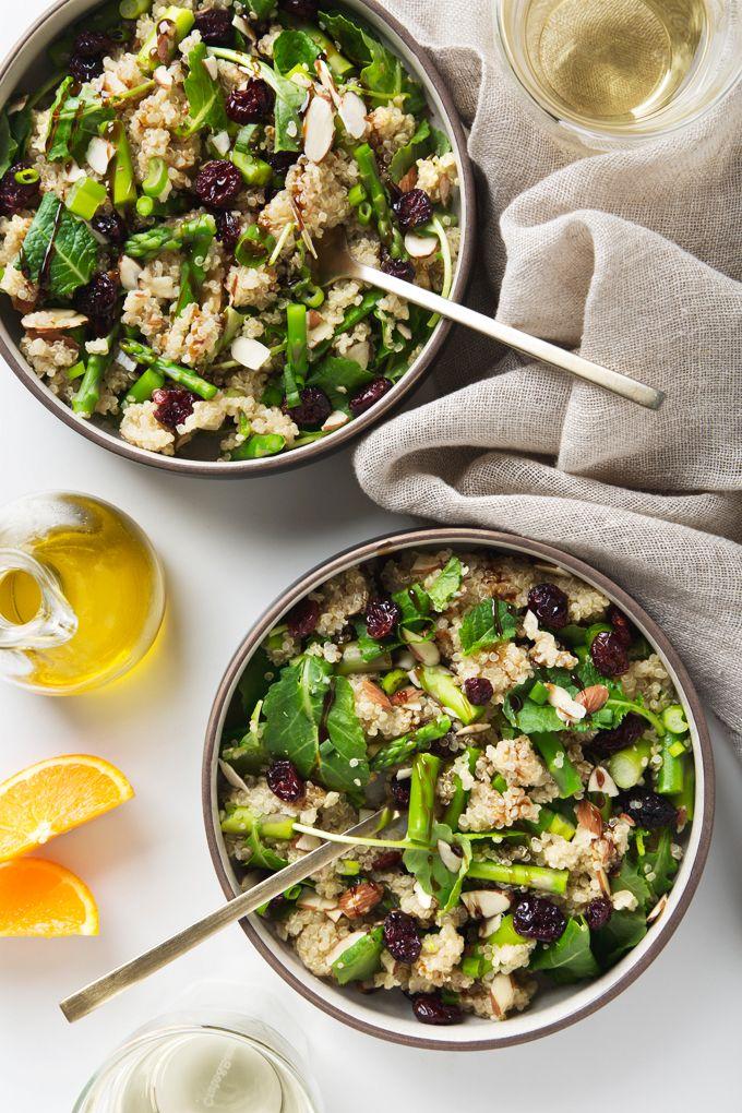 Spring Asparagus Baby Kale Quinoa Bowl