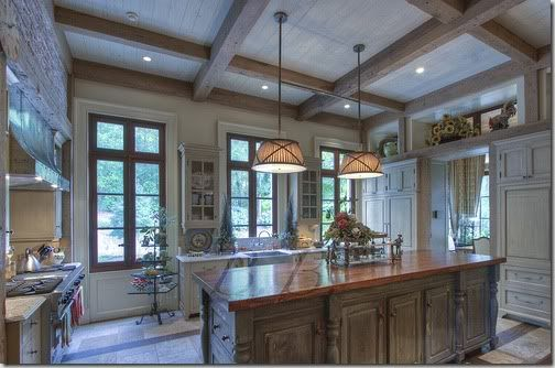 Bleached Distressed Wood Ceiling With Beam For The Home