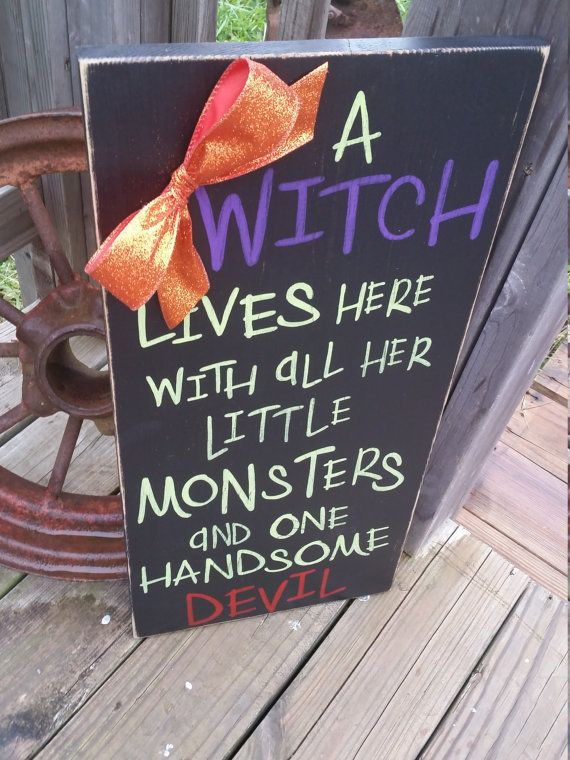 Halloween Sign  Witch and all Her Little Monsters  Handsome Devil  Rustic Witch Sign  Halloween Decor  Wood Decor  Front Door Decor