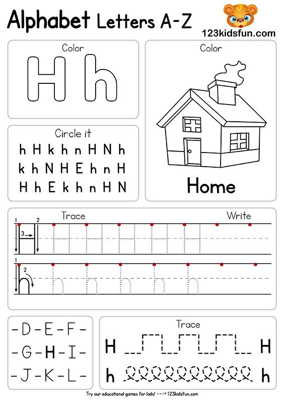 Free Alphabet Practice A-Z Letter Worksheets | 123 Kids Fun Apps
