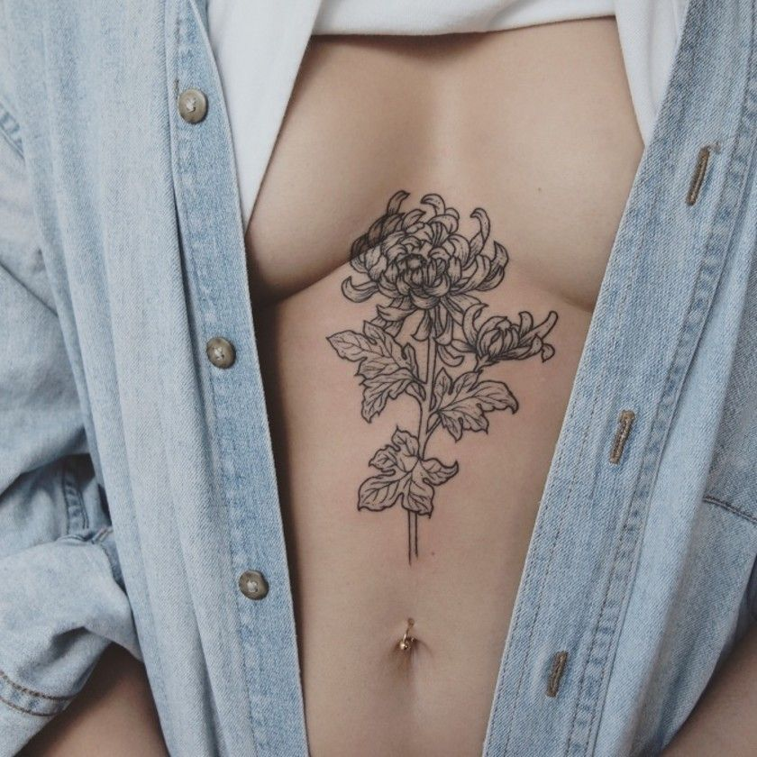 Fine Line Tattoo Artist Jess Chen Is Super Fresh Chrysanthemum Tattoo Ink Tattoo Crysanthemum Tattoo