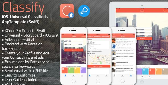 free download classify ios universal classifieds app template