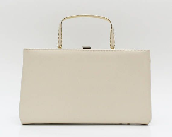 Ivory Leatherette Pocketbook Handbag Vintage 1950s Off White