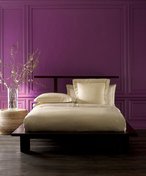Purple And Cream With Dark Brown Furniture