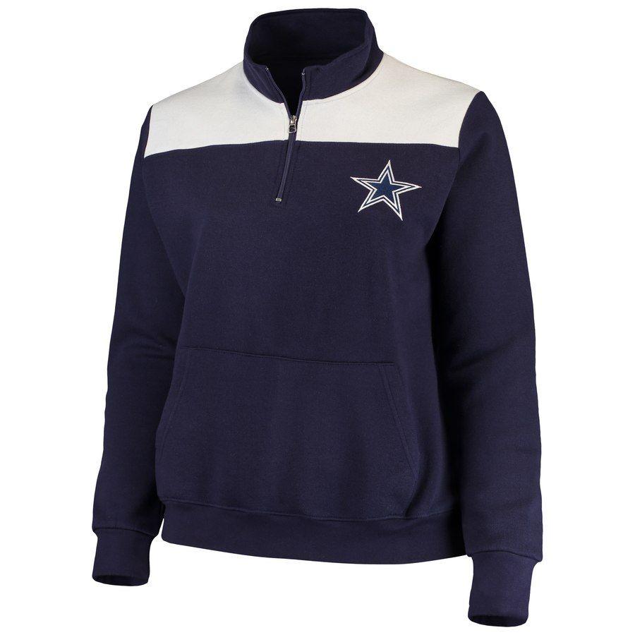 e247e88c09ec88 Women's Dallas Cowboys Majestic Navy Plus Size 1/4-Zip Fleece Pullover  Sweatshirt
