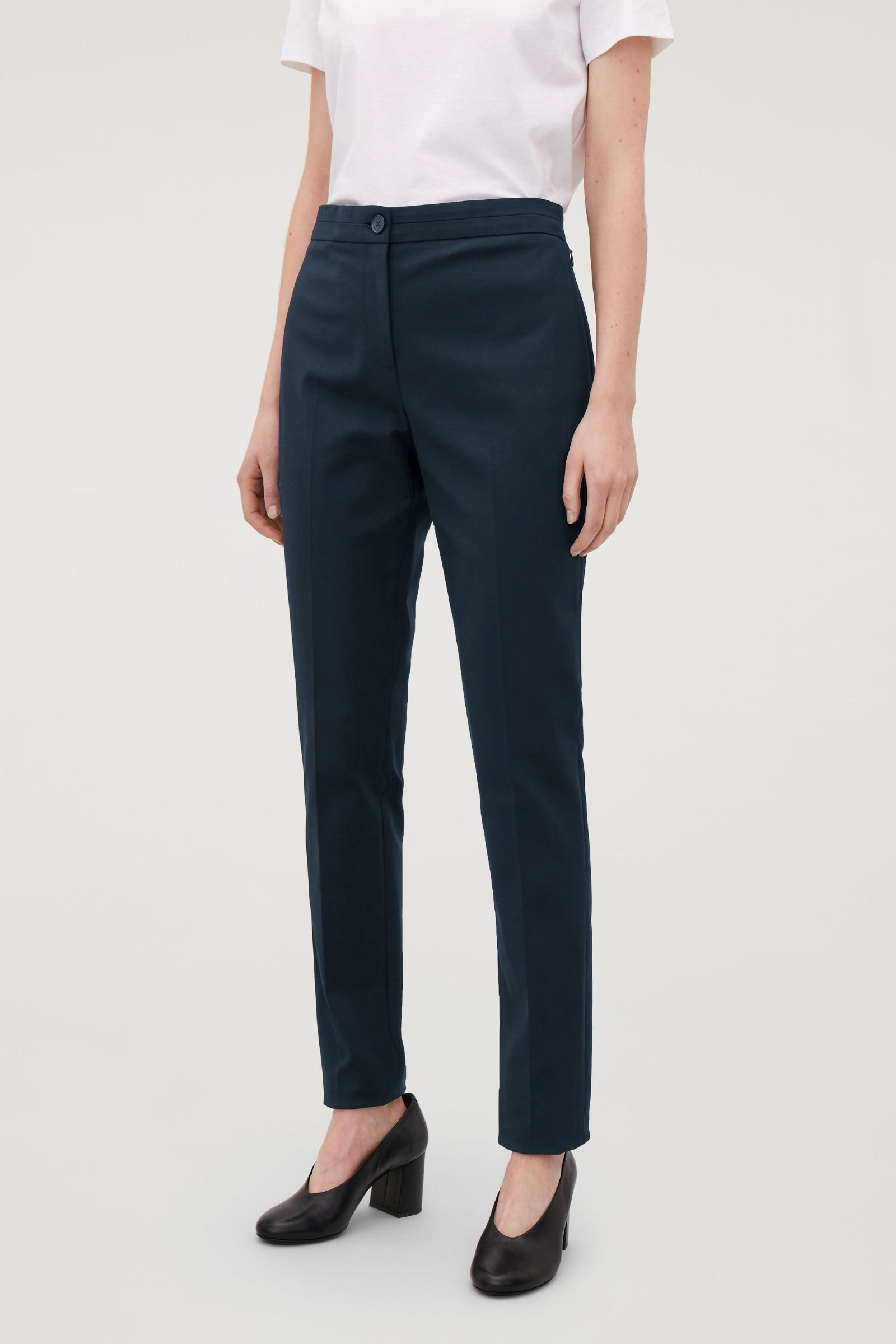 get online limited guantity sale usa online COS image 2 of Twill slim-fit trousers in Navy/pants for classic ...