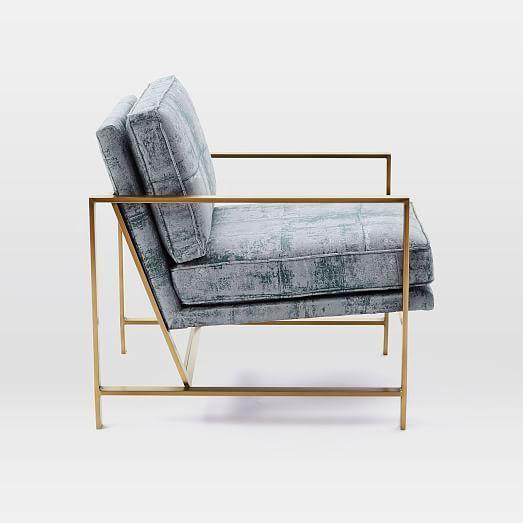 Metal Frame Chair, Luster Velvet, Dusty Blush