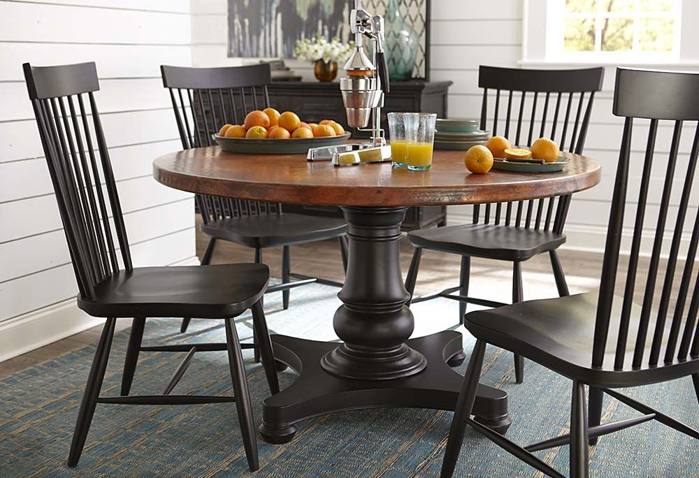 Custom Round Copper Top Dining Table By Bassett Furniture