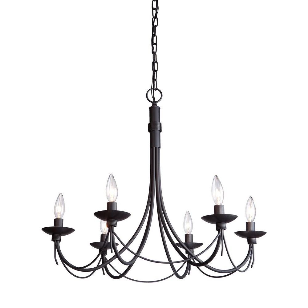 Artcraft Wrought Iron Chasles 6 Light Black Chandelier Cli Acg148641 The Home Depot Iron Chandeliers Wrought Iron Chandeliers Black Iron Chandelier