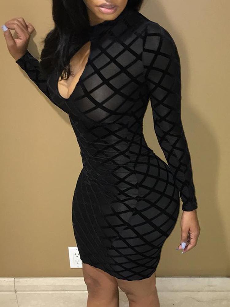 f52f3c47d3a Sexy Black Cut Out Mesh Bodycon Dress